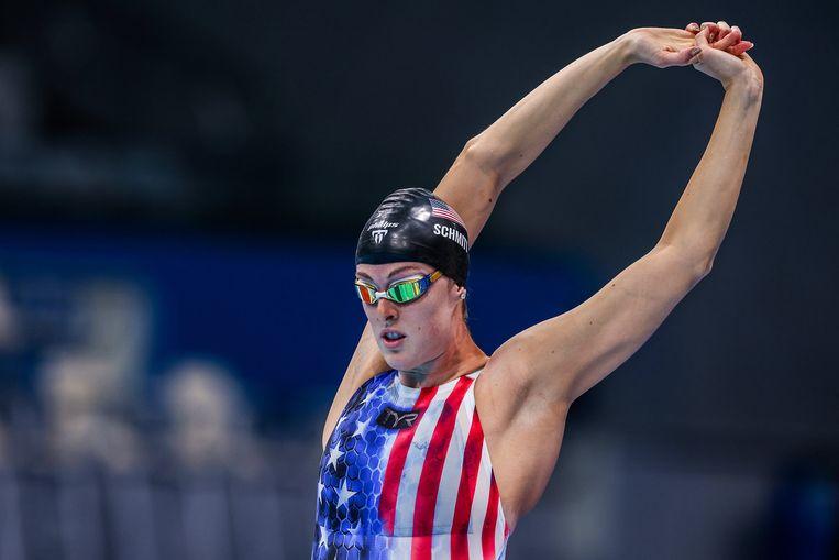 De Amerikaanse Allison Schmitt in Tokio. De zwemster viel in een zwart gat nadat ze haar medaille haalde.  Beeld Photo News