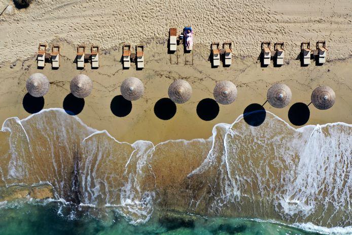 Plaka beach sur l'île de Naxos. Illustration.