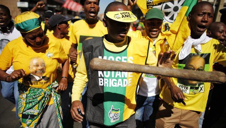 ANC-aanhangers protesteren vandaag in Johannesburg. Beeld afp