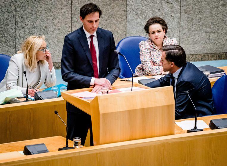 Demissionair ministers Sigrid Kaag, Wopke Hoekstra, Alexandra van Huffelen en premier Mark Rutte. Beeld ANP