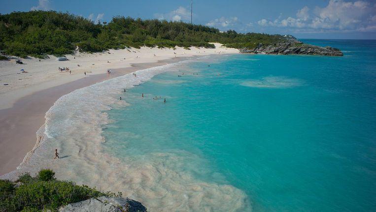 De Hoefijzerbaai op Bermuda, het eiland waar het juridisch advieskantoor Appleby dat centraal staat in de Paradise Papers is gevestigd. Beeld epa