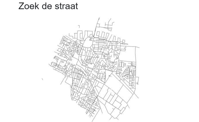 De kaart van Veenendaal in Zoek de straat.