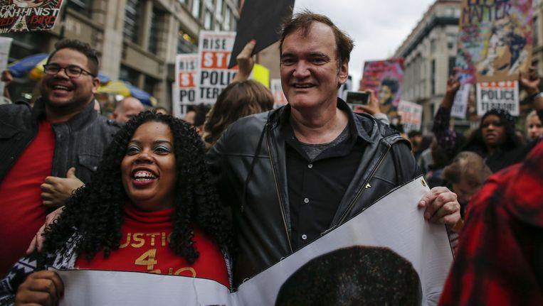 Quentin Tarantino tijdens de demonstratie in New York. Beeld getty
