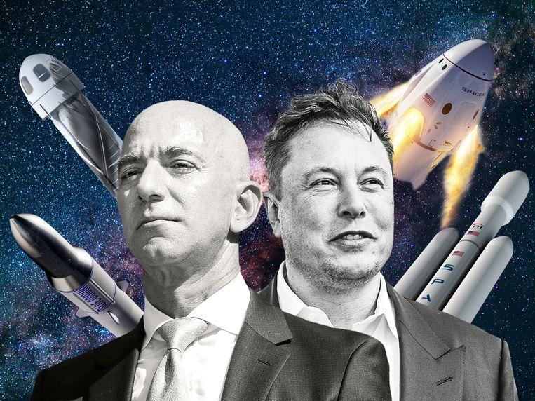 Jef Bezos (l) en Elon Musk. Beeld DM