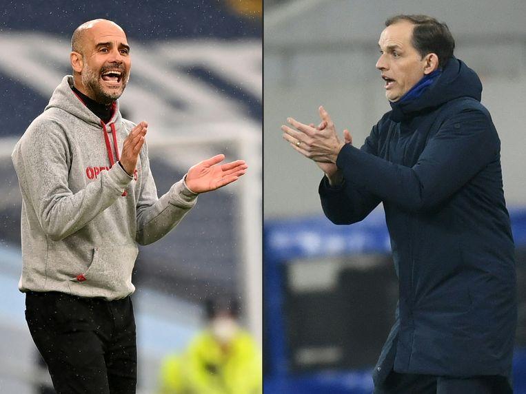 Manchester City-coach Pep Guardiola (l.) en Chelsea-coach Thomas Tuchel. Beeld AFP