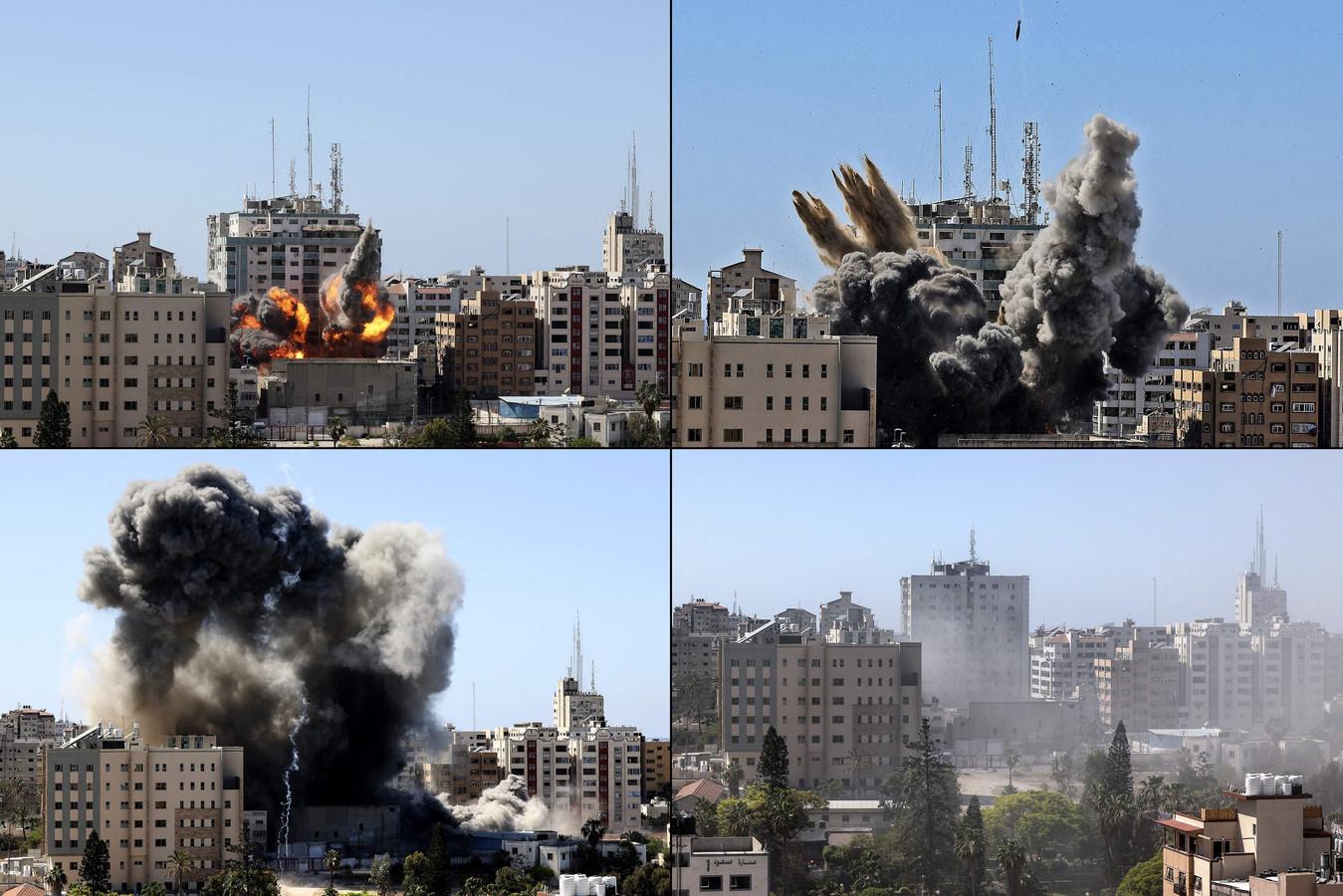 De luchtaanval op het gebouw is gefilmd. Van het gebouw blijft niets over.