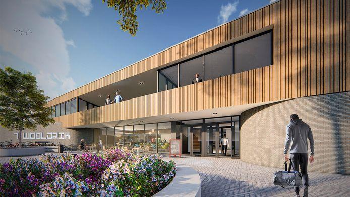 Eerste ontwerp van de centrale entree van het nieuwe sportcomplex 't Wooldrik in Borne