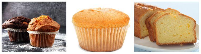 Links de muffin, midden de cupcake en rechts de gewone cake.