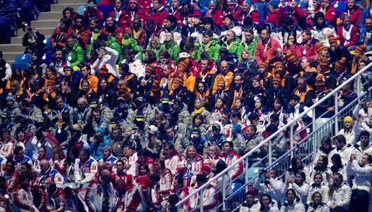 Een deel van de Nederlandse equipe gisteren op de tribune.