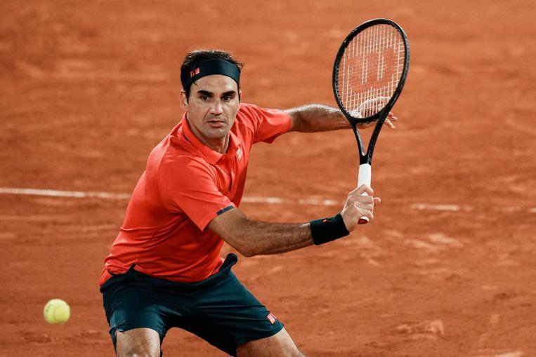 Roger Federer in actie tegen Dominik Köpfer. Beeld AP