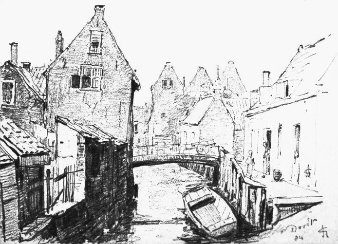 De binnengracht in 1884. Een bron van besmettelijke ziektes. C.N. Storm van 's Gravesande tekende vanaf de Vest. De brug ligt in de Heer Heymansuysstraat.