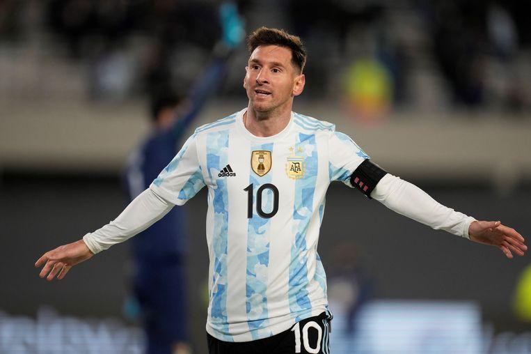 Lionel Messi doet het weer voor Argentinië. Beeld EPA