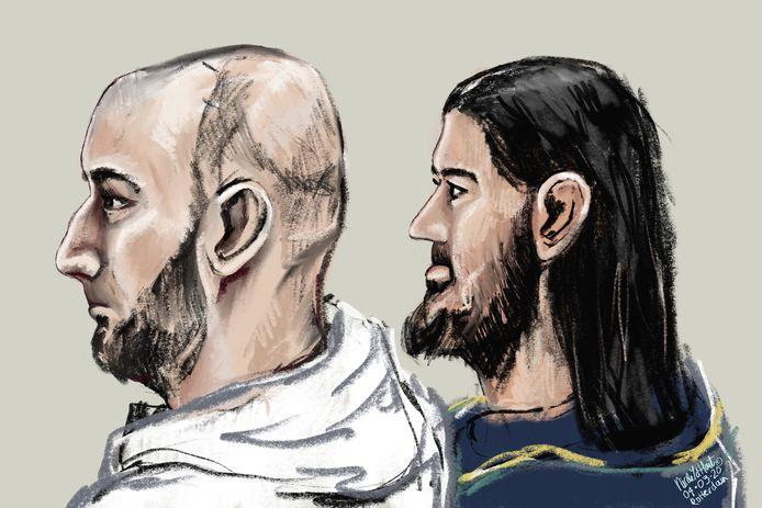 Shahram K. (l) en Sahand I. tijdens een eerdere zitting.