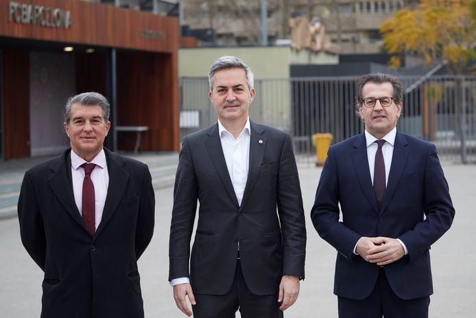 Vlnr: de drie presidentskandidaten Joan Laporta, Victor Font Toni Freixa.