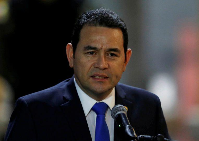 Jimmy Morales werd in 2015 president in Guatemala, nadat hij vijftien jaar komisch acteur was geweest. Sindsdien heeft hij het verknoeid bij een groot deel van de bevolking.  Beeld REUTERS
