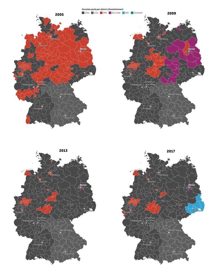 De grootste partijen per district in de afgelopen vier verkiezingen. Beeld De Morgen
