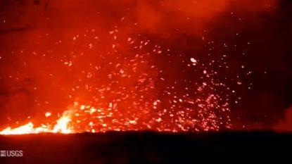 Spectaculaire wervelwind van lava gefilmd op Hawaï