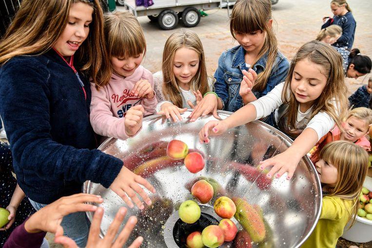 De kindjes mochten het verzamelde fruit zelf persen om nadien een slokje lekker, vers geperst fruitsap te drinken.