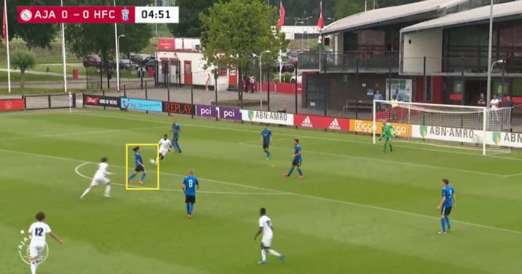 Fitz-Jim controleert de bal met zijn borst, op de rand van het eigen strafschopgebied. Beeld Screenshot Ajax TV