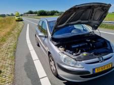 Net 3 weken geleden gekochte auto strandt en vliegt in brand op N18 bij Eibergen