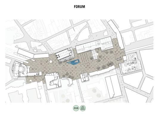 Optie Forum Romanum, een plek waar de gebouwen de blikvangers zijn, de kermis en weekmarkt altijd terechtkunnen.