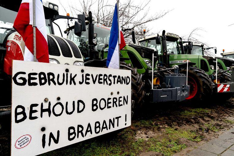Boeren demonstreerden in december voor het provinciehuis van Den Bosch tegen de in hun ogen onrealistische stikstofmaatregelen van het provinciebestuur. Beeld ANP