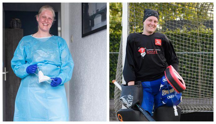 Jolien als verpleegkundige en hockeykeeper