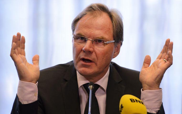 Bestuursvoorzitter Gerard van de Aast tijdens een persconferentie van Imtech. Beeld anp