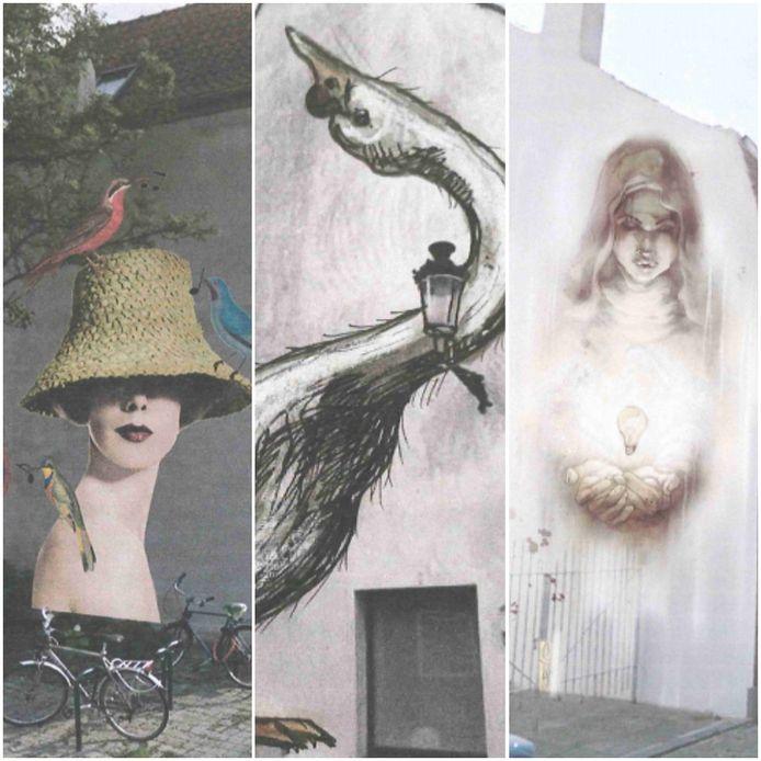 Drie streetart-kunstwerken zullen nog dit jaar het straatbeeld van Brugge-centrum kleuren.