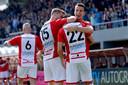 FC Emmen juicht na één van de twee treffers tegen sc Heerenveen afgelopen weekend (2-0).