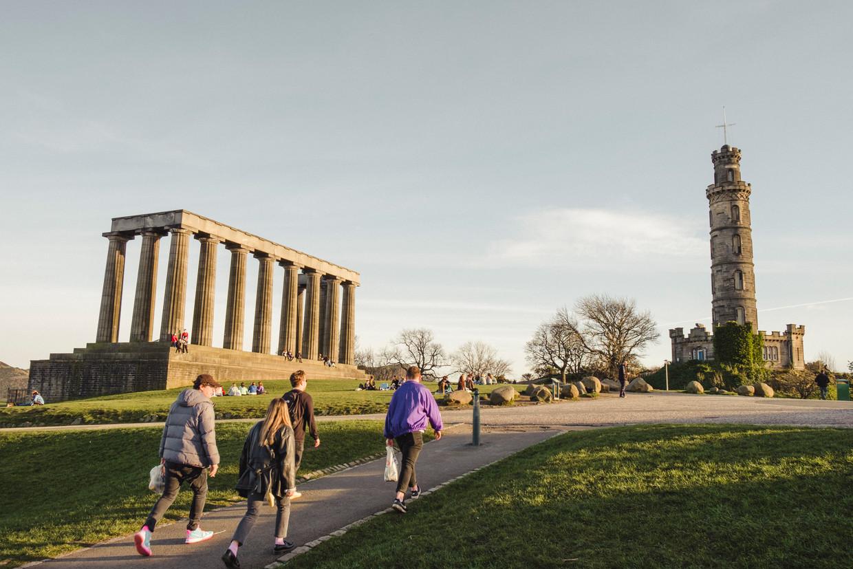 Calton Hill, met de Schotse replica van het Parthenon en uitzicht over Edinburgh, is een verzamelplaats van de nationalistische beweging geworden.  Beeld Carlotta Cardana