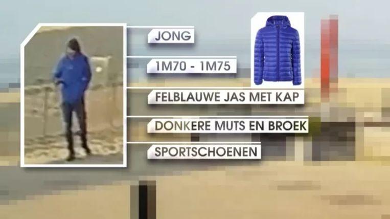 Eind maart werden beelden verspreid van de man met de blauwe jas die enkele uren zou hebben rondgezworven rond de vindplaats van het lichaam. Beeld VTM Nieuws