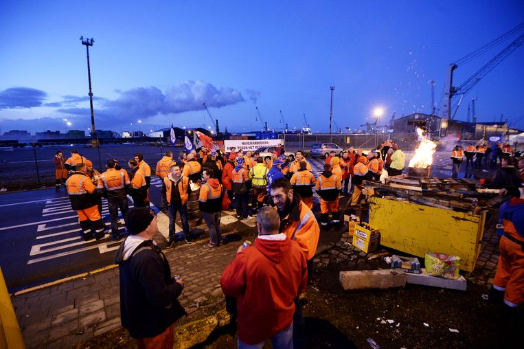 Actievoerder eerder vandaag in de Antwerpse haven. Beeld BELGA