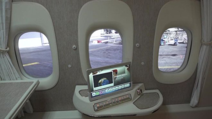 Emirates werkt aan virtuele ramen.
