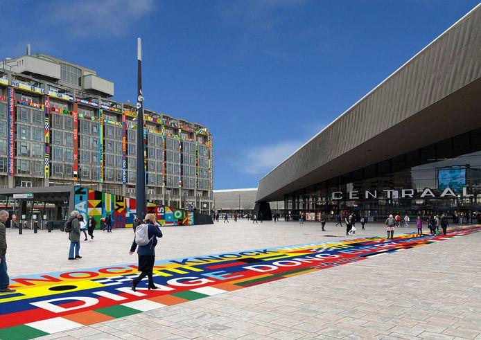 Impressie van het Groot Handelsgebouw, met een gekleurde loper naar het station.