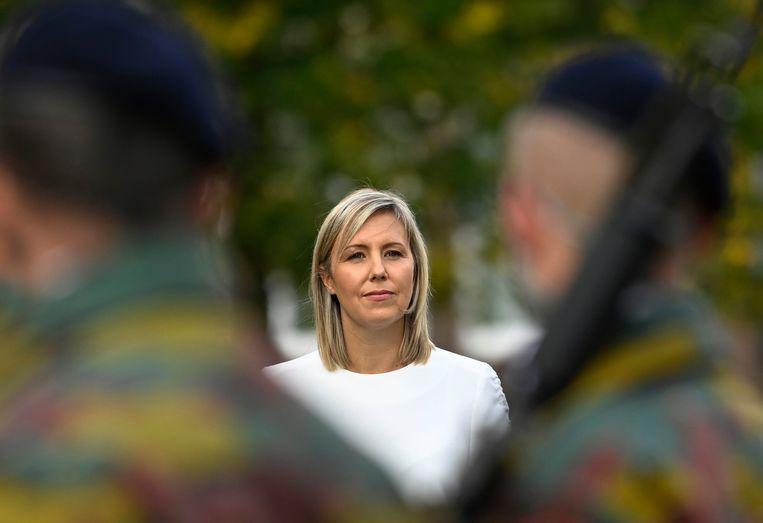 Defensieminister Ludivine Dedonder in Evere.  Beeld Photo News