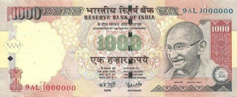 Het biljet van 1.000 roepie. Beeld