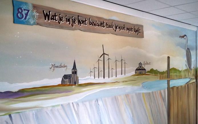 'Panorama Roks' aanwinst voor Roosendaal, de spreuken op het schilderij zijn door de inwoners van Heerma State zelf aangedragen.