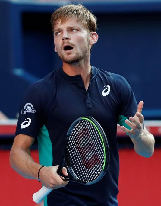 David Goffin tijdens zijn wedstrijd tegen Novak Djokovic in Tokio, vorige week.
