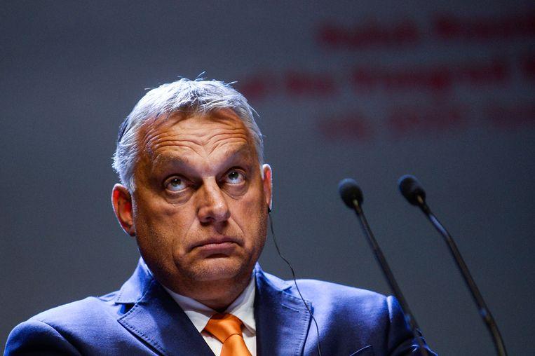 De Hongaarse premier Viktor Orbán berooft het land volgens filantroop George Soros van vele miljarden overheidsgeld.  Beeld Getty Images