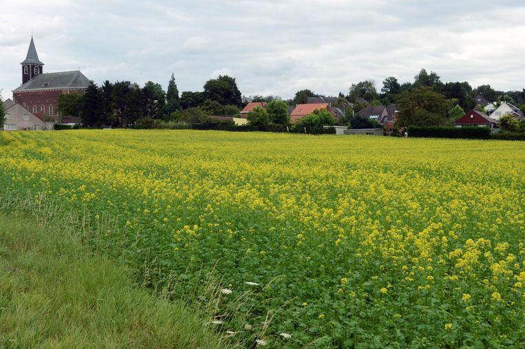 Op dit stuk grond aan de kerk in Blanden zou het woonzorgcentrum gebouwd worden.