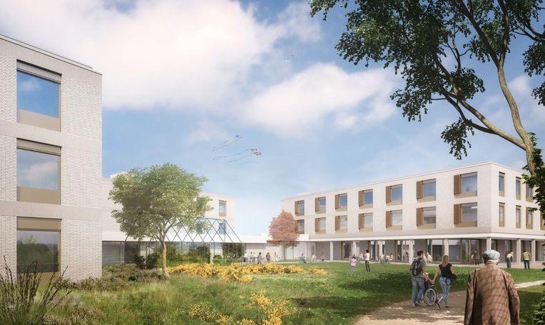 Een conceptbeeld van het nieuwe woonzorgcentrum van Meulebeke