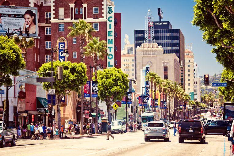 Hollywood Boulevard, met El Capitan Theatre en Musso & Frank Grill. Beeld shutterstock