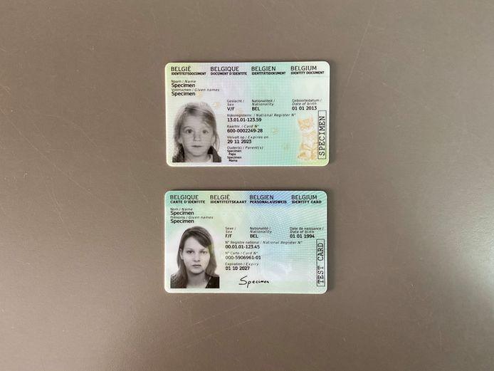 De vernieuwde Kids-ID (boven) en eID (onder)