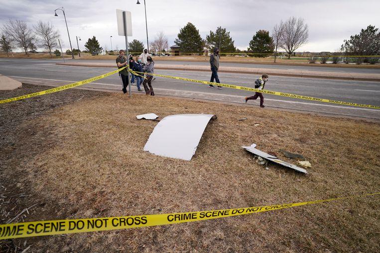 Brokstukken van het vliegtuig in Colorado. Beeld AP