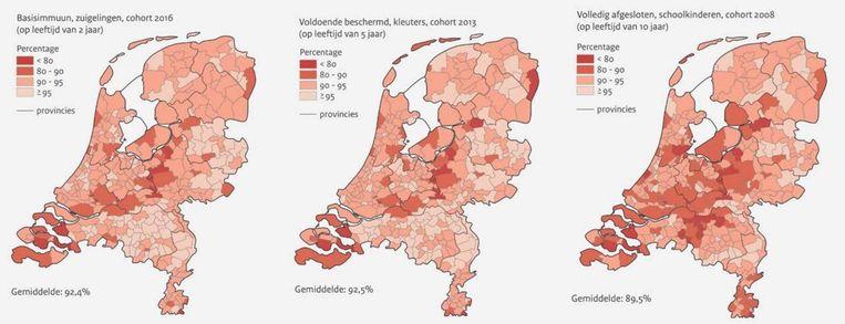 De D(K)TP-vaccinatiegraad per gemeente Beeld RIVM