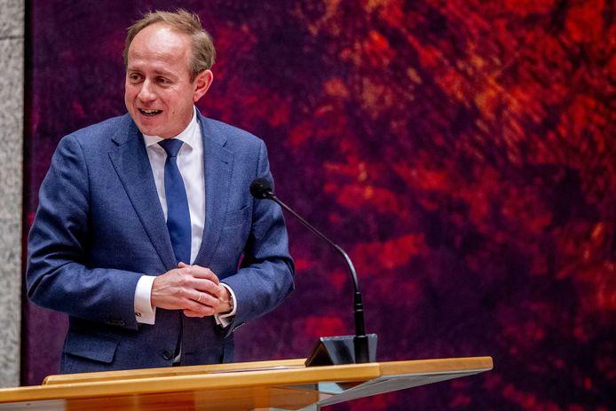 SGP-leider Kees van der Staaij afgelopen week tijdens het plenair debat in de Tweede Kamer over de ontwikkelingen rondom het coronavirus.