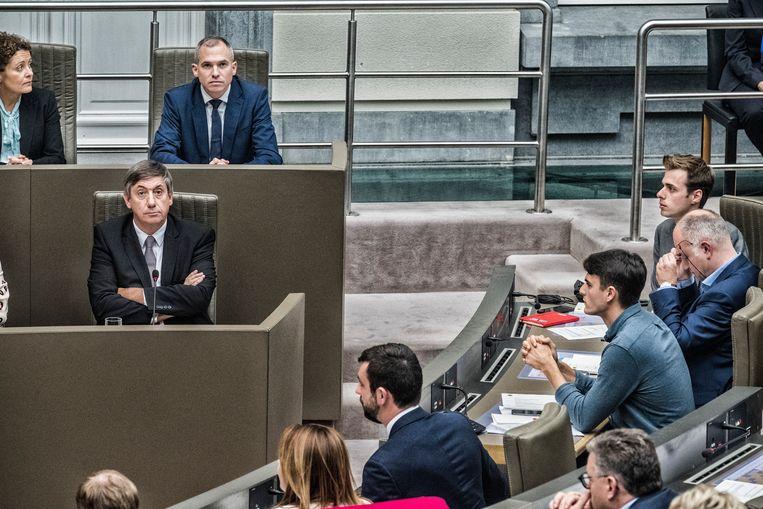 Jan Jambon (N-VA) in het Vlaams Parlement. Beeld Tim Dirven