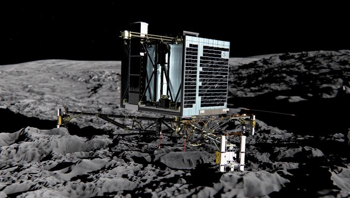 Deze illustratie gaf in 2013 weer hoe de Philae op de komeet Tchouri moest landen. De echte landing verliep turbulent.