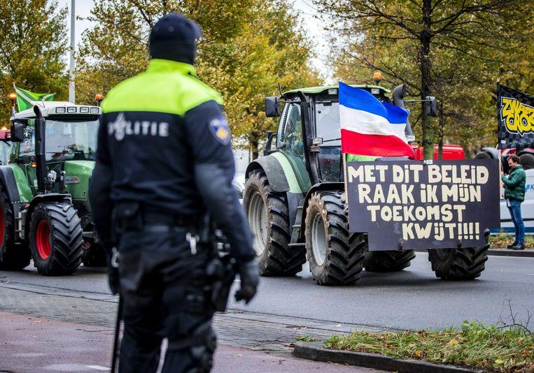 Boerenprotest in Den Haag in november vorig jaar. Met de actie, die Code Oranje heet, wilden de boeren toen voorkomen dat de Tweede Kamer instemde met de stikstofplannen van het kabinet. Beeld ANP
